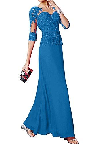 Abendkleider Brautmutterkleider Damen Tanzenkleider mit Langarm La Etuikleider Spitze Blau Braut mia qwATSW7xYX