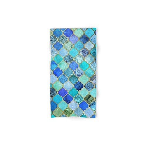 Society6 Cobalt Blue, Aqua & Gold Decorative Moroccan Tile Pattern Hand Towel 30