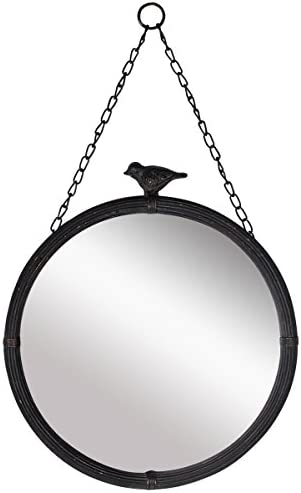 NIKKY HOME 11.25 Vintage Round Metal Framed Wall Mounted Mirror with Bird, in Matt Black