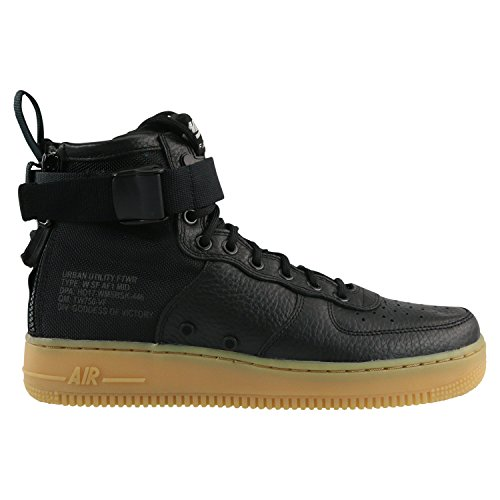 Nike SF Air Force 1 Mid Womens Shoes Black/Black/Gum Light Brown aa3966-002 (10.5 B(M) US) by NIKE