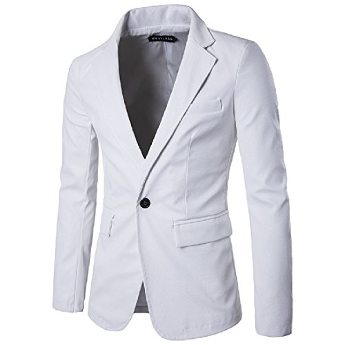 XINHE Men Hipster Long Sleeve Casual One Button Flap Pockets PU Leather Blazer Jacket White S