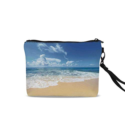 - Ocean Portable Art Storage Bag with Cosmetics,Waves and Golden Paradise Beach with Sky Sun Endless Summer Sea Coast View Print For Women Girl,9