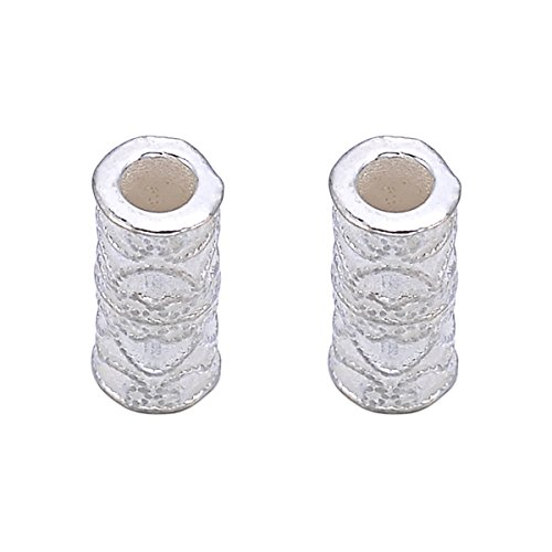 Sterling Beads Tube Silver Curve (2pcs 925 Sterling Silver Curve Round Tube Spacer Bead for DIY Jewelry Making Finding 13mmx6mm)