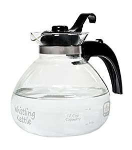 Amazon Com Medelco 12 Cup Glass Stovetop Whistling Kettle