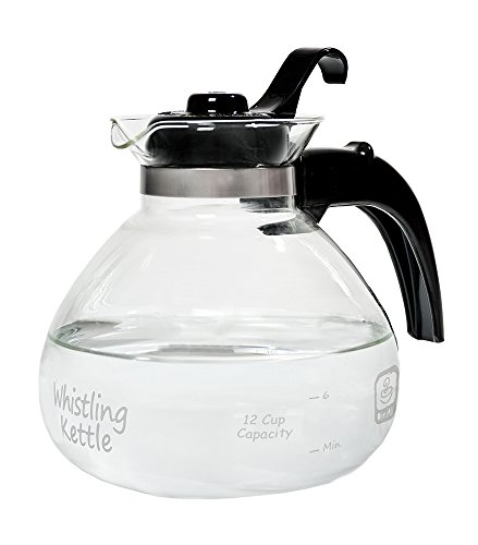 Medelco  12-Cup Glass Stovetop Whistling Kettle (Stove Top Hot Water Pot)