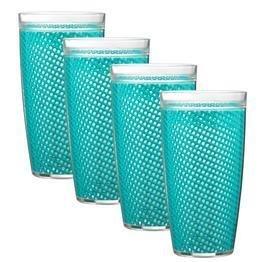 Teal Tumbler Set - Kraftware the Fishnet Collection Doublewall Drinkware, Set of 4, 22 oz, Teal