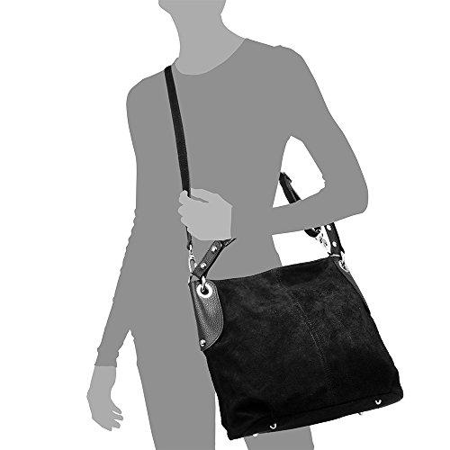 FIRENZE auténtica Bolso Made SUAVE hombro de ARTEGIANI ITALIANA VERA BLACK ITALY TACTO mujer cm Color PELLE cuero mujer Shopper genuino Negro 33x30x12 Bolso Bolso GAMUZA piel mujer Bolso in wXOrXqU