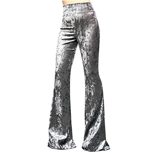 ShopMyTrend SMT Women's High Waist Wide Leg Long Bell Bottom Yoga Pants Small Velvet -