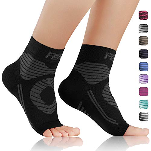 FEATOL Plantar Fasciitis Socks with Arch Support, Compression Foot Sleeves |Relieves Achilles Tendonitis, Joint Pain, Swelling, Heel Spurs, Better Than a Night Splint (Black, Large) (Best Indoor Soccer Shoes For Plantar Fasciitis)