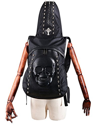 hic Embossed Leather Skulls Rivets Backpack With Hooded ()