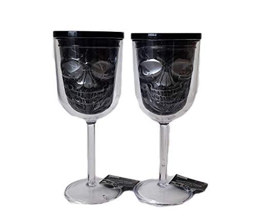 Day of the Dead Sugar Skull Plastic Wine Glasses in Black & Silver (Set of 2) ()