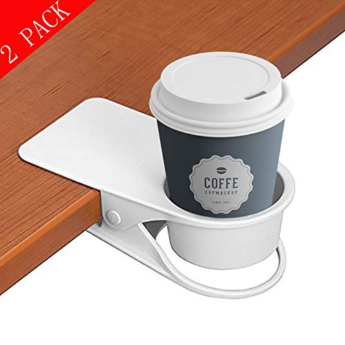 (supercope Cup Holder Clip- Table Desk Side Bottle Cup Stand The DIY Glass Clamp Storage Saucer Clip Water Coffee Mug Holder Saucer Clip Design for Home & Office(black&white), (2 Pack))