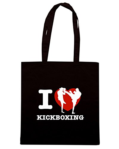 T-Shirtshock - Bolsa para la compra TAM0052 i love kick boxing dark tshirt Negro