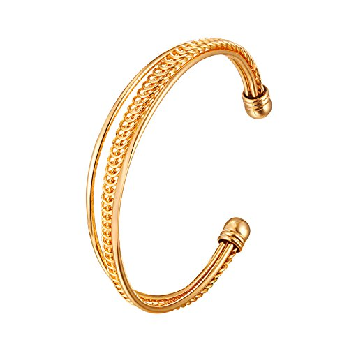 (U7 Simple Cuff Bracelet 18K Real Gold Platinum Plated Fine Bangle Bracelet Fashion Jewelry (Style F2. Gold))