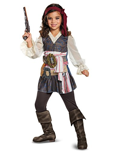 Disguise POTC5 Captain Jack Sparrow Girl Classic Costume,  Multicolor,  Large (10-12) ()