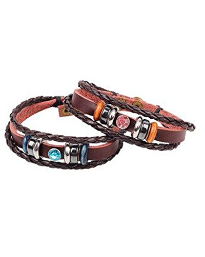 Young & Forever Women's Valentine Special Brown Leather Stone Couple Bracelet Purple by Young & Forever