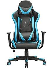 Yaheetech Gamingstoel, bureaustoel, draaistoel, sportstoel, managersstoel, ergonomisch design met kantelfunctie, in hoogte verstelbare kunstleer, racingstoel