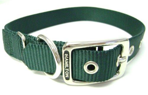 Hamilton 1-Inch Single Thick Nylon Deluxe Dog Collar, 24-Inch, Dark Green