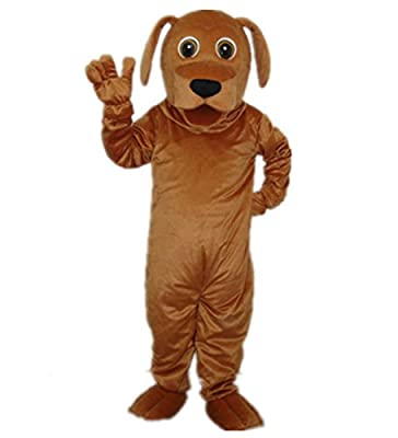 MascotShows Golden Dog Adult Mascot Costume Adult Size Halloween Fancy Dress Suit