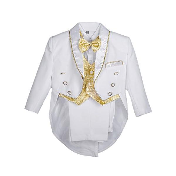 lito angeli, bimbo, gilet jacquard 5pezzi formali smoking tuta con coda battesimo outfit 1