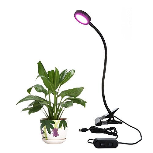 Umiwe LED Grow Light Clip On Plant Light Lamp Flexible Gooseneck for Indoor Plants Hydroponic Garden Greenhouse (Upgraded Version, 8W)