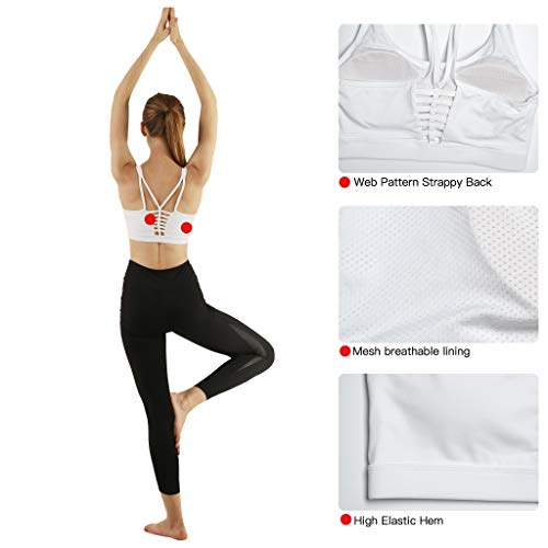 cd1d577a1e15a Snailify Women s Sports Bra Crisscross High Impact Strappy Removable Padded  Support Bras - Yoga Gym Workout
