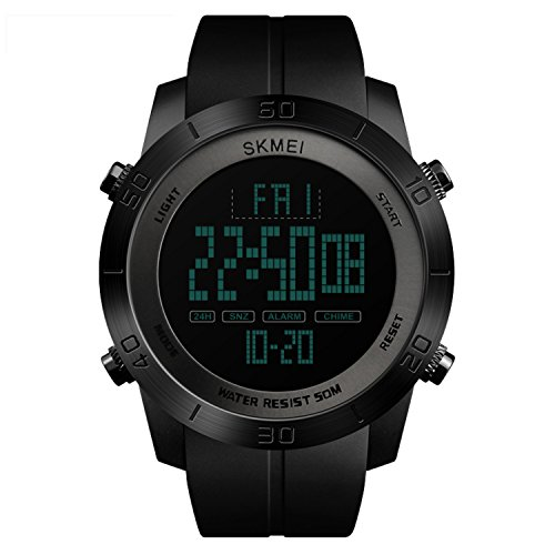 Price comparison product image Mens Digital Sports Watch Waterproof Stopwatch Alarm Analog LED Screen Large Face Military Watches for Men - Black