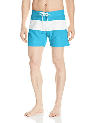 Sauvage Men's Fixed Waist Positano Italian Striped Swim Trunk, Turquoise, 36