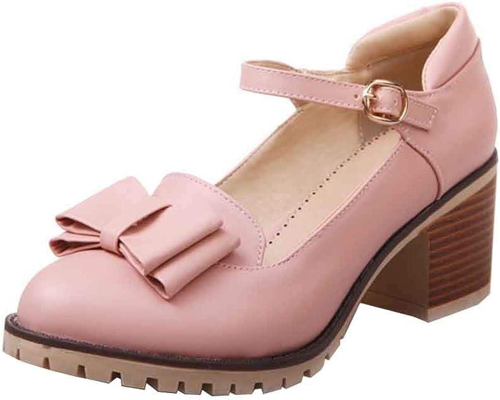 SHEMEE Damen Mary Jane High Heels Pumps mit Blockabsatz und Riemchen Schleife S/ü/ß Schuhe