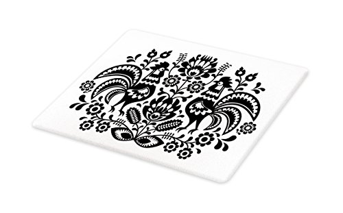 Lunarable Gallus Cutting Board, Polish Floral Embroidery with Roosters Traditional Folk Pattern Easter Celebration, Decorative Tempered Glass Cutting and Serving Board, Large Size, Black - Rooster Polish
