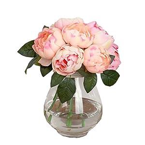 LEERYA 1 Bouquet 6 Heads Artificial Peony Silk Flower Leaf Home Wedding Party Decor 57