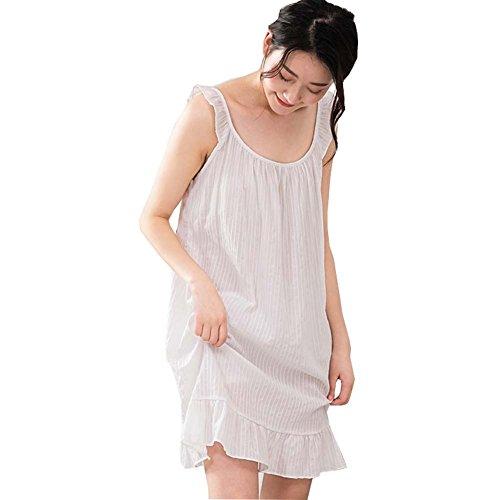 YOYI FASHION Womens Sleepwear Cotton Nightgowns Crochet Women Sleeveless Full Slip Dress White US 4-6 (Pintucked Nightgown)