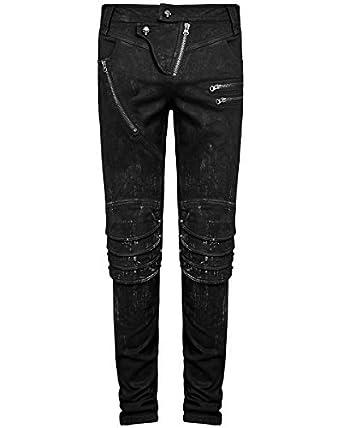 606c324ac5f0be Punk Rave Herren DieselPunk Jeans Hose Schwarz Gothic Punk Knie Rüstung  Hosen - Schwarz