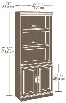 71 Standard Bookcase Enclosed Back and Adjustable Shelves-Cherry