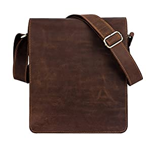 "Kattee Vintage Leather Flapover Messenger Bag Fit 10"" Laptop"