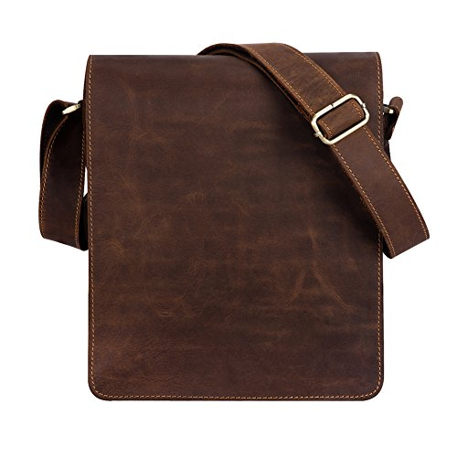 Kattee Vintage Cow Leather Flapover Messenger Bag Fit 10