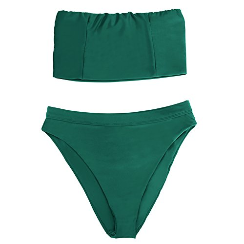 14b65bf48c8 ... S Dixperfect Women's Two Pieces Swimsuit Sexy Bandeau Bikini Top High  Waisted Bottom (Emerald, ...