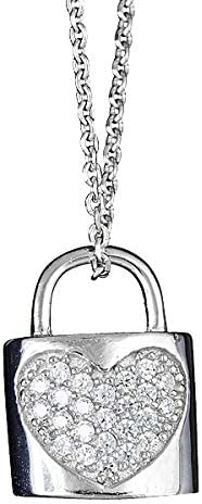 Sterling Silver Heart Lock 16 Necklace