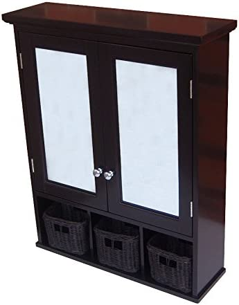 allen roth 25-in x 30-in Ready-To-Assemble 2 Door Bathroom Wall Wood Medicine Cabinet, Espresso