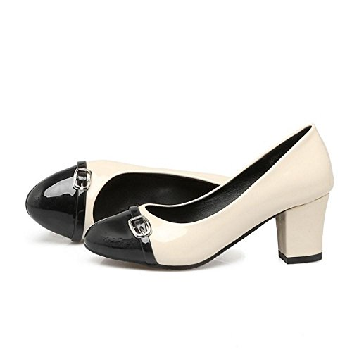 COOLCEPT Zapato Mujer Western Tacon Ancho medio Sin Cordones Mixed Colors Court Zapatos With Hebilla Negro