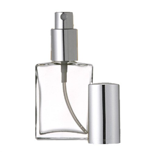 Perfume Bottle Elegant (Grand Parfums Empty Perfume Atomizer 2 Oz , Flat Glass Bottle, Silver Sprayer 60ml Decant Fragrance Bottle)