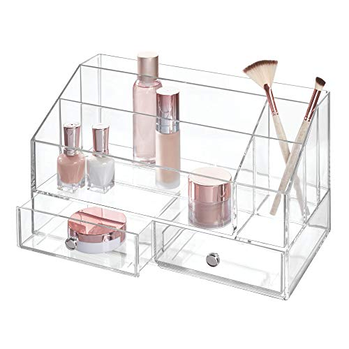 iDesign Plastic Tiered Divided Cosmetic Organizer with Drawers for Storage of Makeup, and Accessories on Vanity, Countertop, or Cabinet, 12.97 x 6.96 x 8.25 - Clear