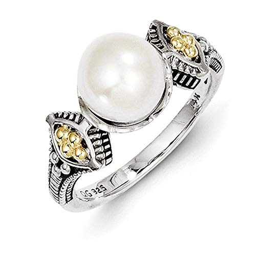 Lex & Lu 14k Yellow Gold w/Sterling Silver Two-tone 8-8.5mm FWC Pearl Ring-Prime