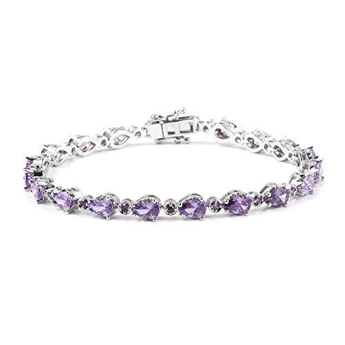 Shop LC Delivering Joy Silvertone Pear Cubic Zircon Amethyst Tennis Bracelet for Women 7.25