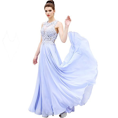 HONGFUYU Gorgeous A-Line High Neck Lace formal Prom Dress Beading Evening Gown Lavender-US6