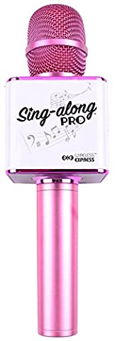 Sing-along PRO Bluetooth Karaoke Microphone and Bluetooth Stereo Speaker All-in-one (Pink) - Sing Along Microphone