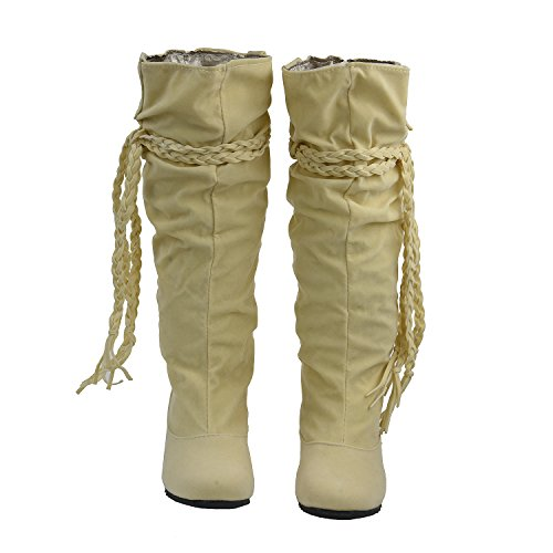 Sweet SODIAL Shoes boots Women style boots Warm Boot 41 Tassel Boots R Knee white Winter High Tassel Fashion Snow 5aYqRIw