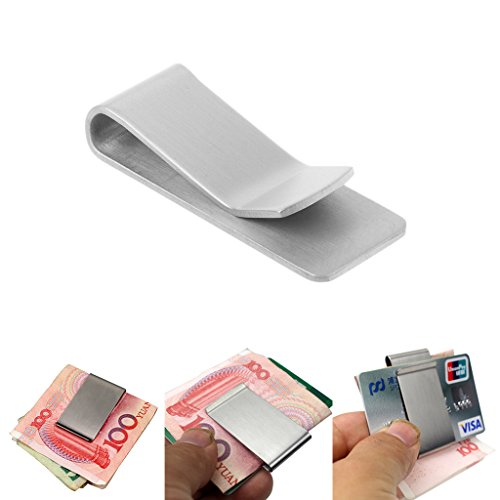 BKID Portability Money Credit Card Clip Stainless Steel Silver Clip Durable Metal Pocket Holder