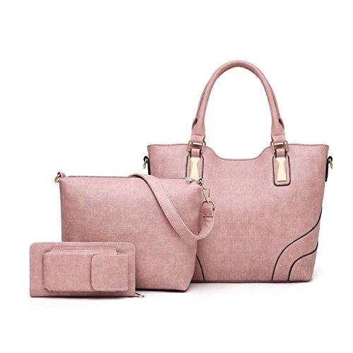 rosa pezzi Borsa donna in a pelle capacità Semplice 3 mano per Grande 6qUf7w