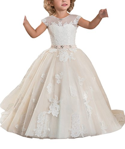Abaosisters Princess Flower Girl Dresses Cap Sleeves Kids Puffy Ball Gown Cream Size 8 Christmas Dresses For Girls Dillards